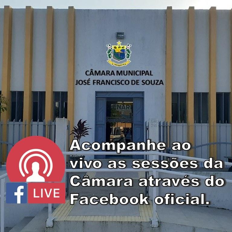 Acompanhe ao vivo as Sessões da Câmara através do Facebook Oficial